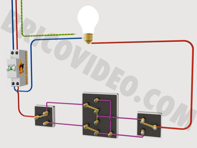 Electricit bricolage va et vient permutateur t l rupteur for Cablage vas et viens